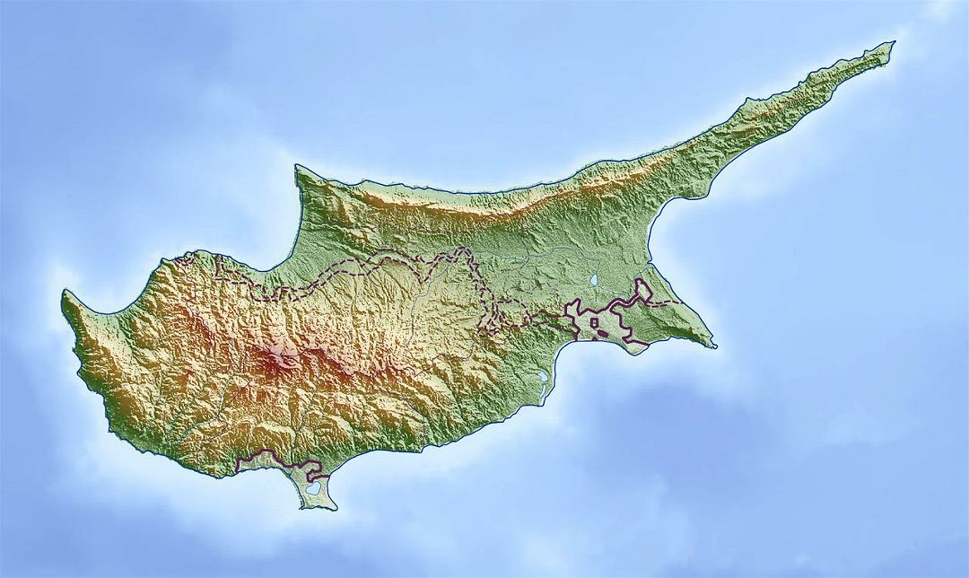 Large relief map of Cyprus