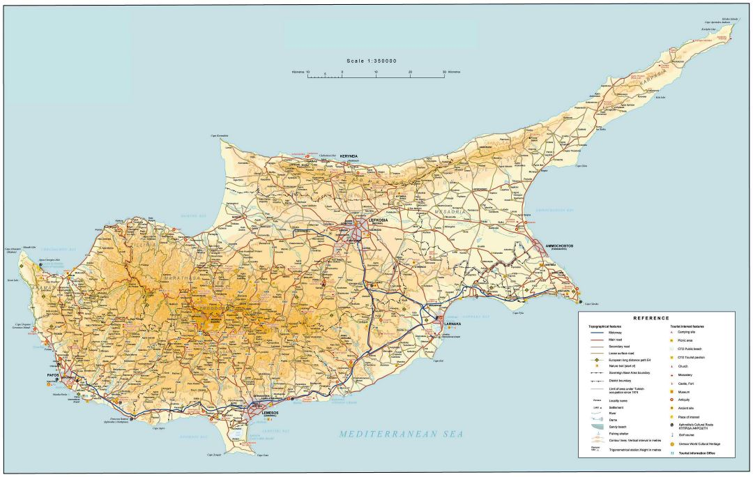 Large road map of Cyprus
