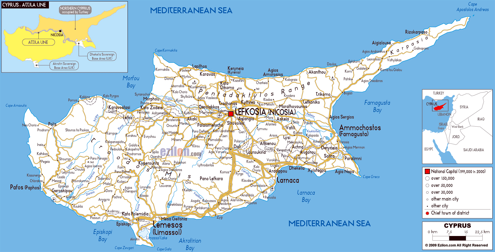 Large road map of cyprus with cities and airports cyprus asia large road map of cyprus with cities and airports gumiabroncs Image collections