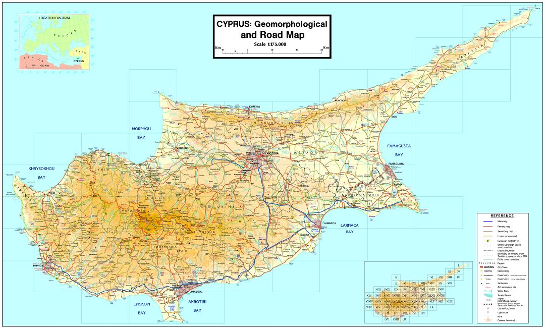 Large scale geomorphological map of Cyprus with roads and cities