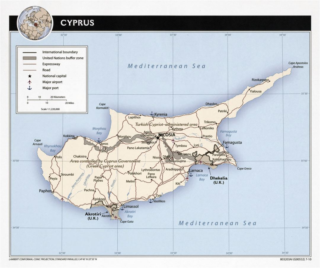 Large scale political map of Cyprus with roads, major cities, sea ports and airports - 2010