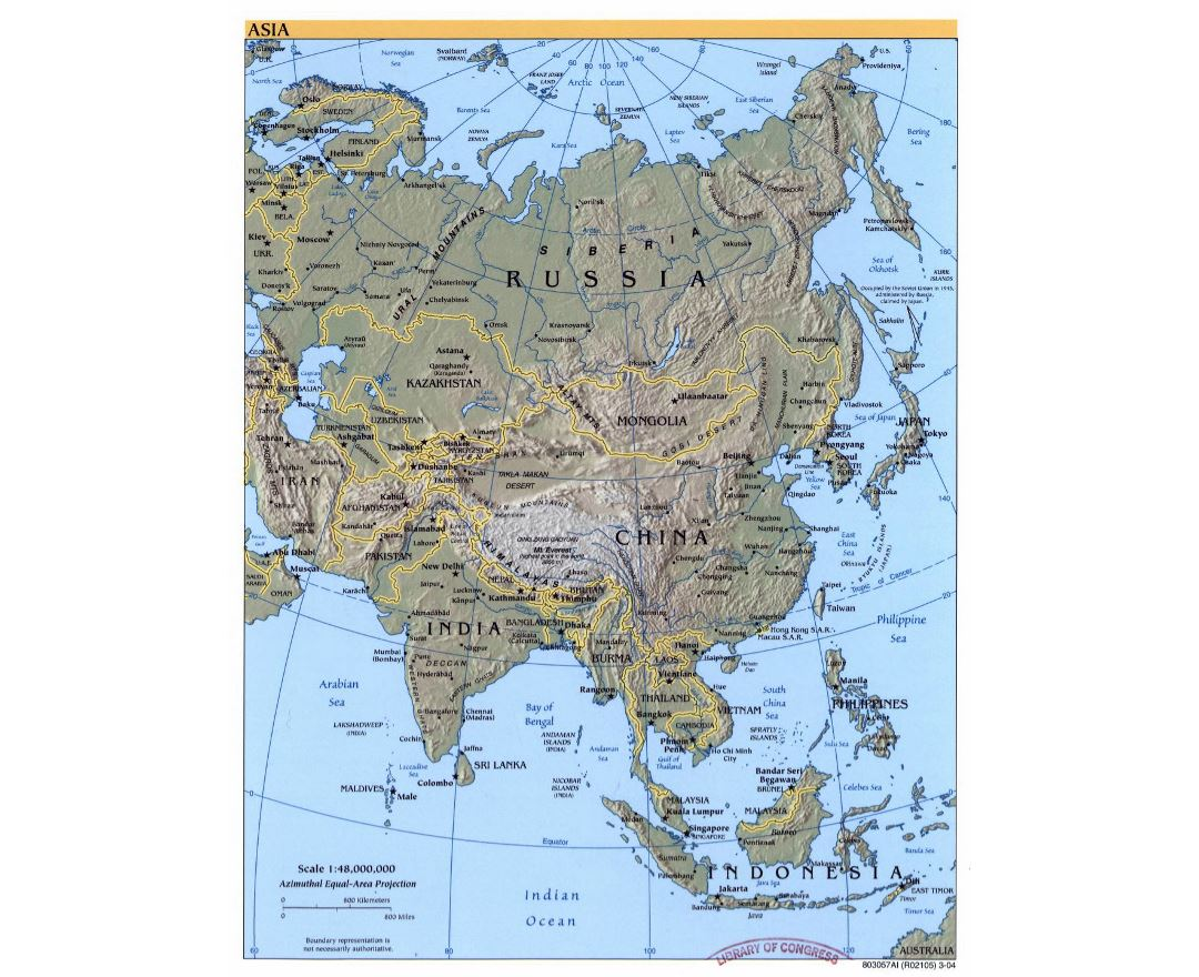 Detailed political map of Asia with relief - 2004