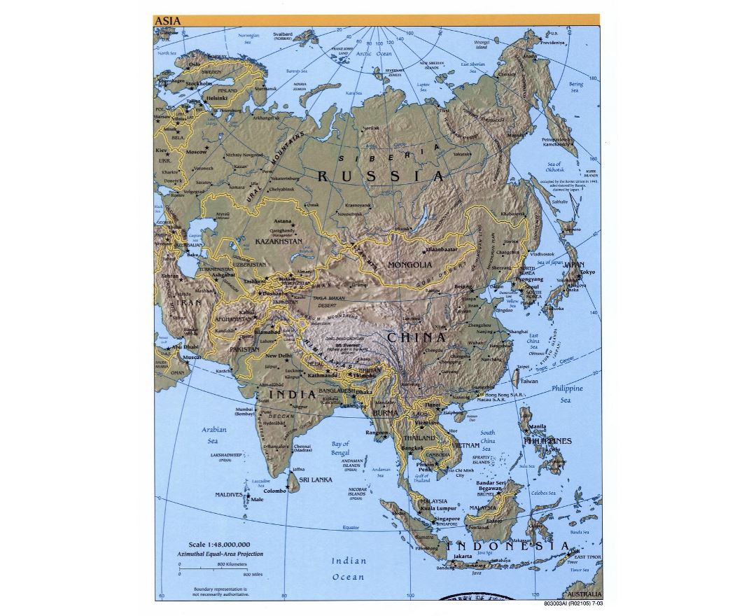 detailed political map of asia with relief and capitals 2003
