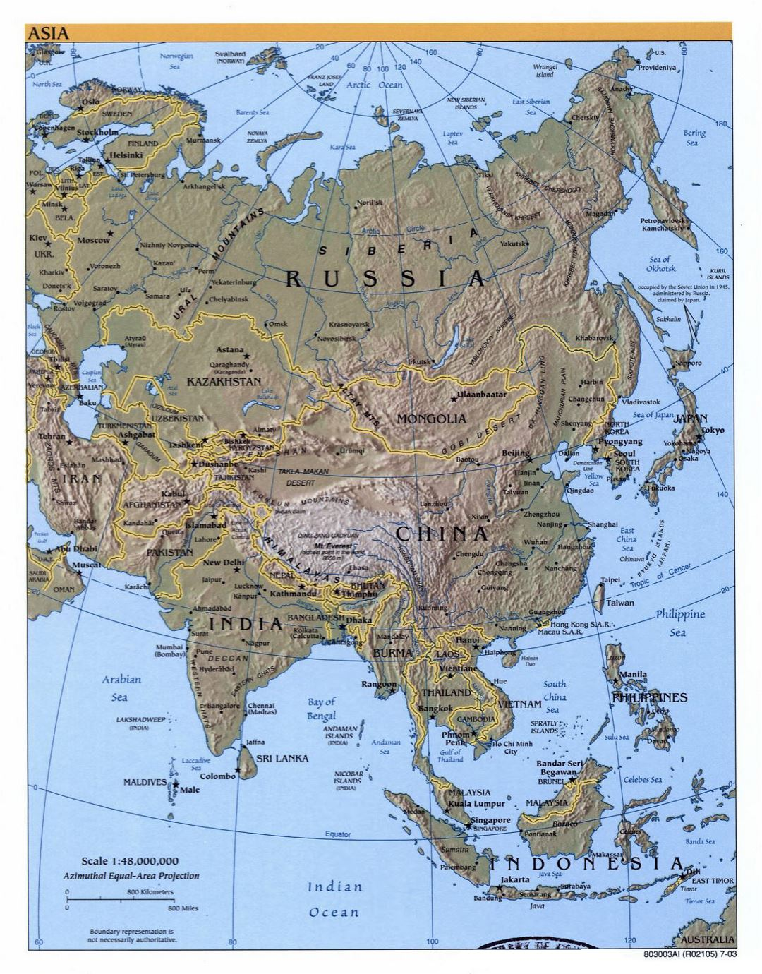 Detailed political map of Asia with relief and capitals - 2003
