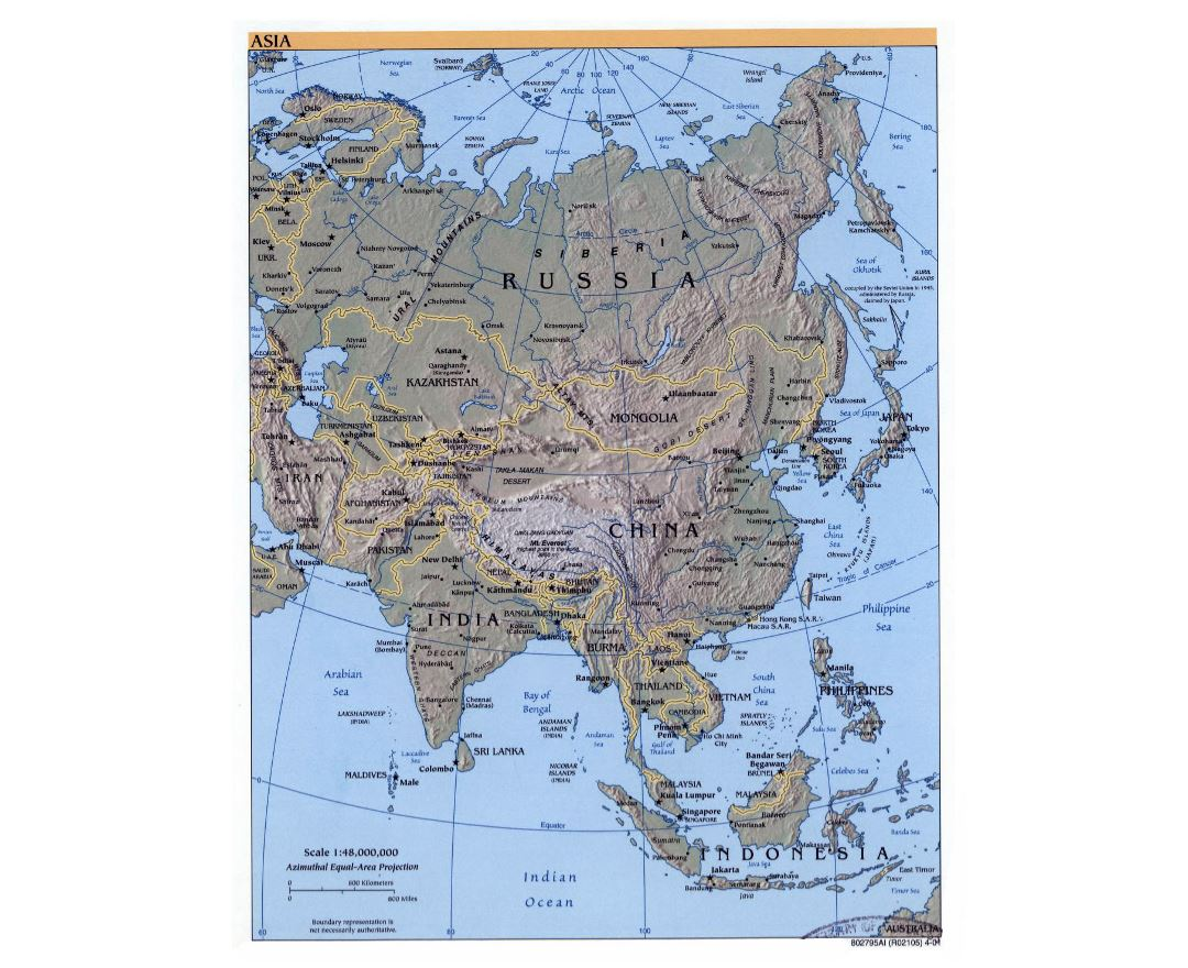 Detailed political map of Asia with relief, major cities and capitals - 2001
