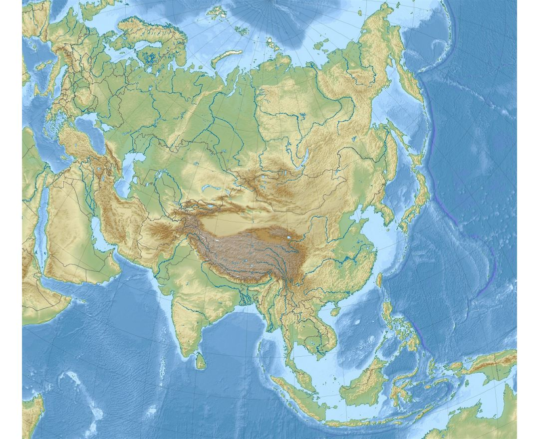 detailed relief map of asia