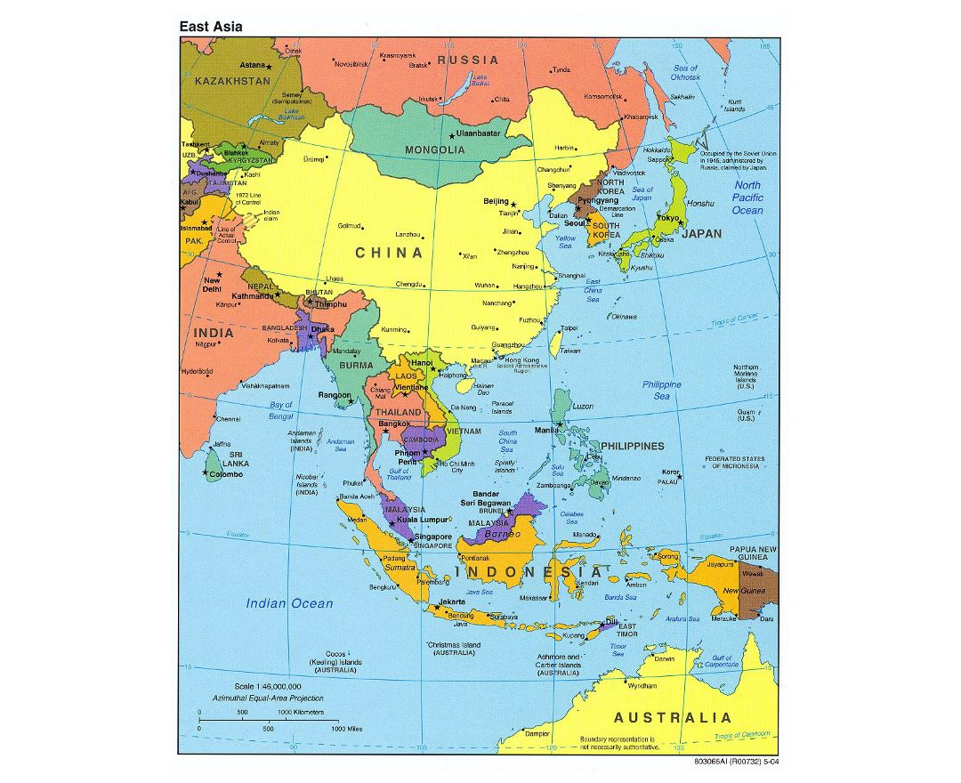 detailed political map of east asia 2004