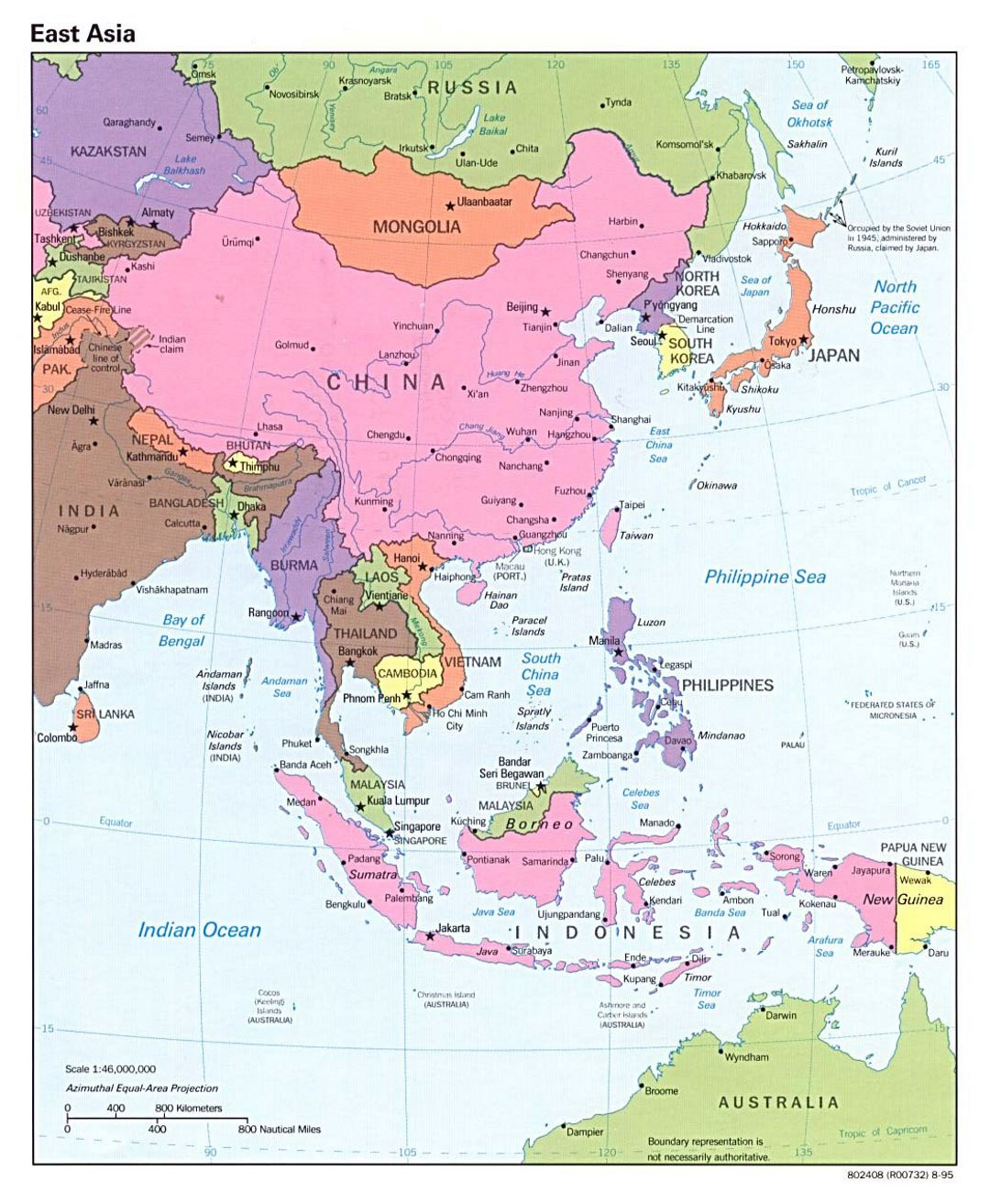Detailed political map of East Asia with capitals - 1995