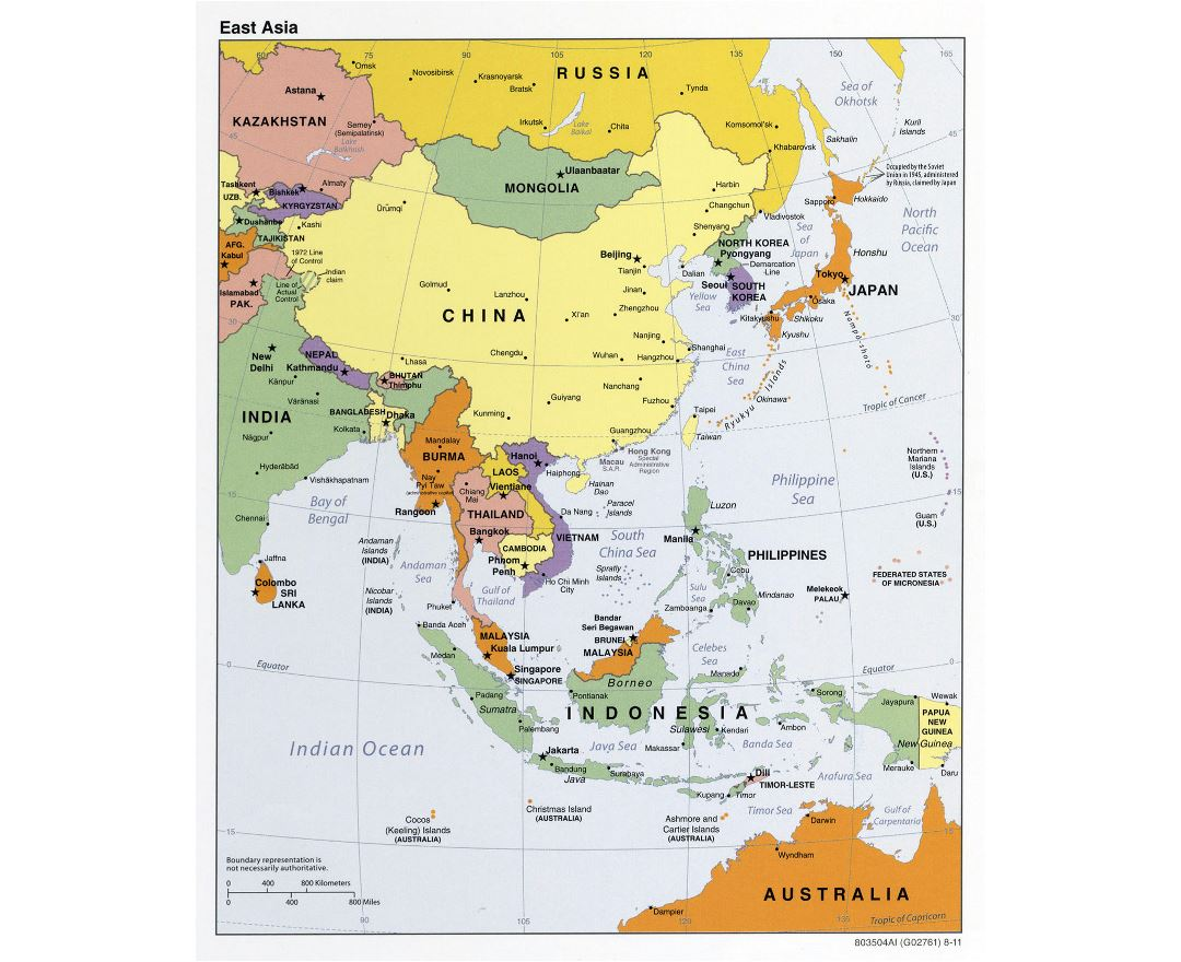 Large detailed political map of East Asia - 2011