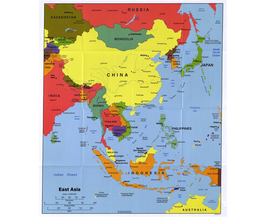 large detailed political map of east asia with major cities and capitals 2004