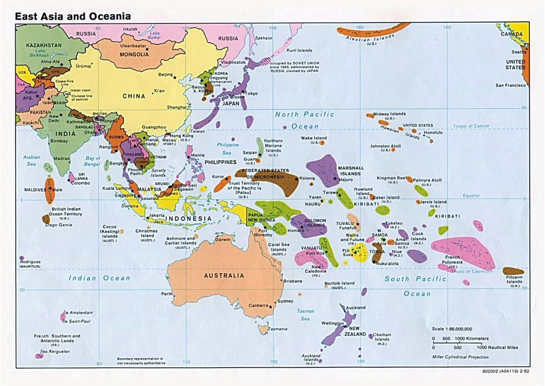Large political map of East Aisa and Oceania with capitals - 1992