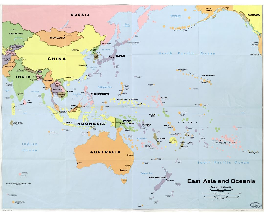 large scale detailed political map of east asia and oceania 2002