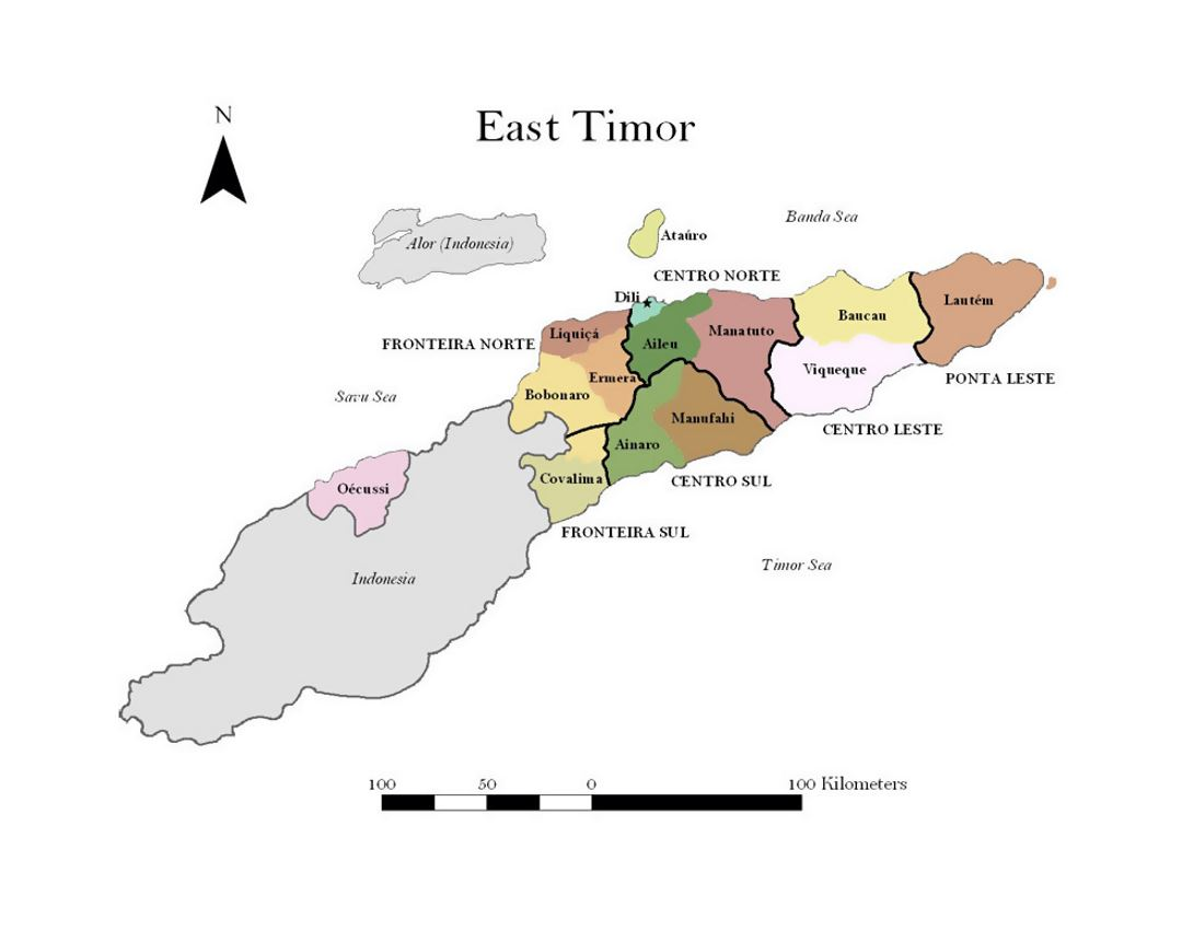 Administrative map of East Timor