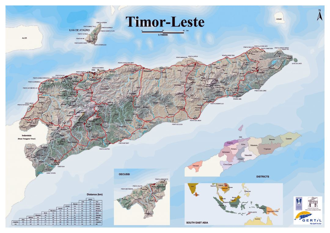 Detailed map of Timor Leste with relief, roads and cities