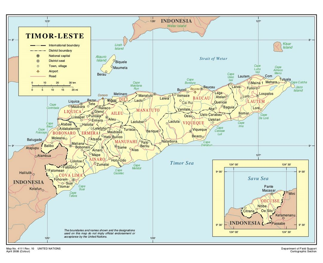 Maps of East Timor Detailed map of East Timor in English