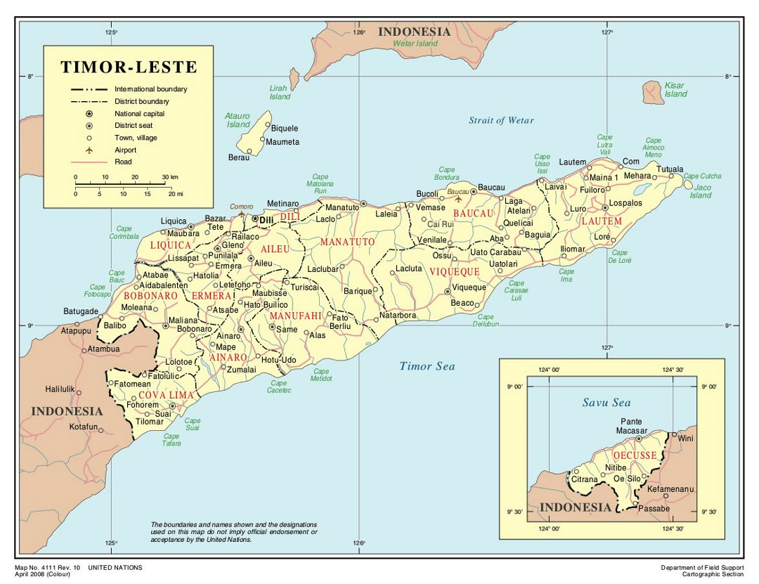 Detailed political and administrative map of East Timor with roads, cities and airports