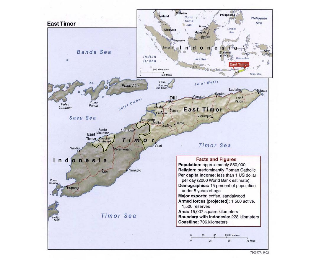 Maps Of East Timor Detailed Map Of East Timor In English - Indonesia political map