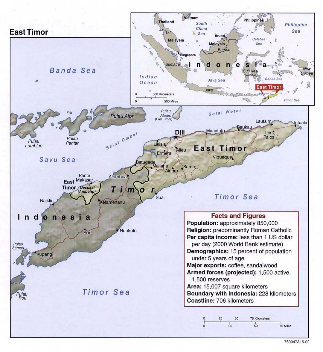 Detailed political map of East Timor with relief, roads and major cities - 2002