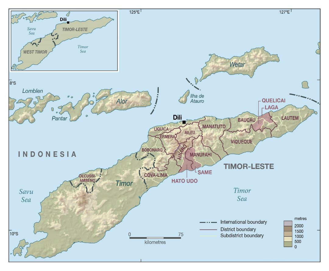 Large administrative map of East Timor with relief