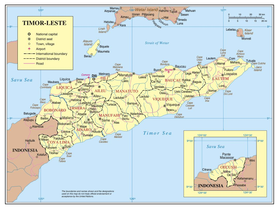 Large detailed political and administrative map of East Timor with roads, cities and airports