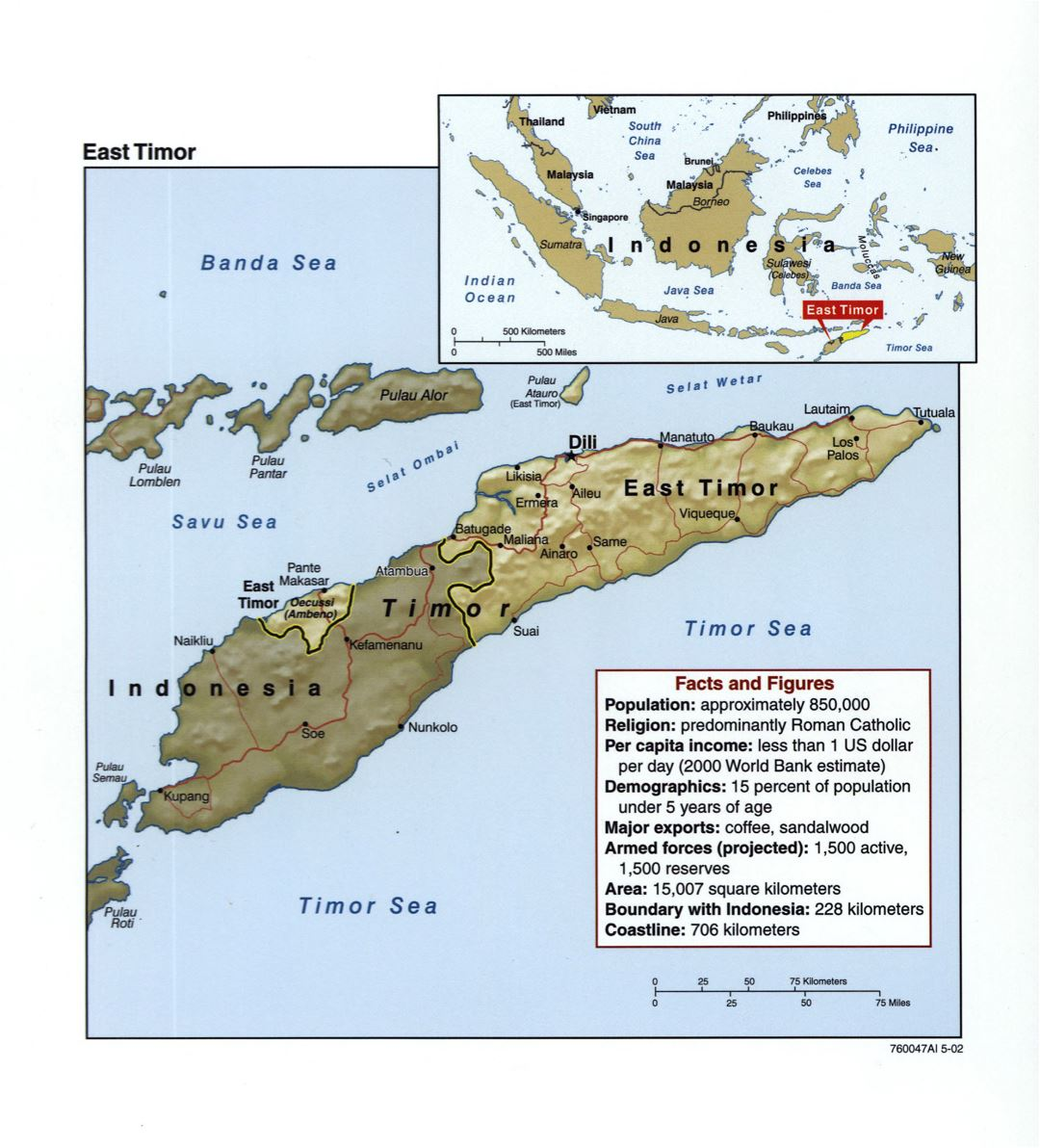 Large detailed political map of East Timor with relief, roads and major cities - 2002