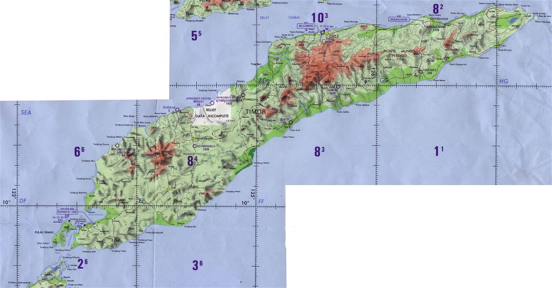 Large detailed topographical map of Indonesia and East Timor