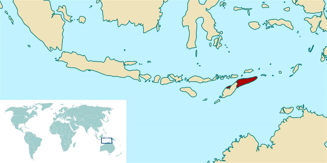 Large location map of East Timor