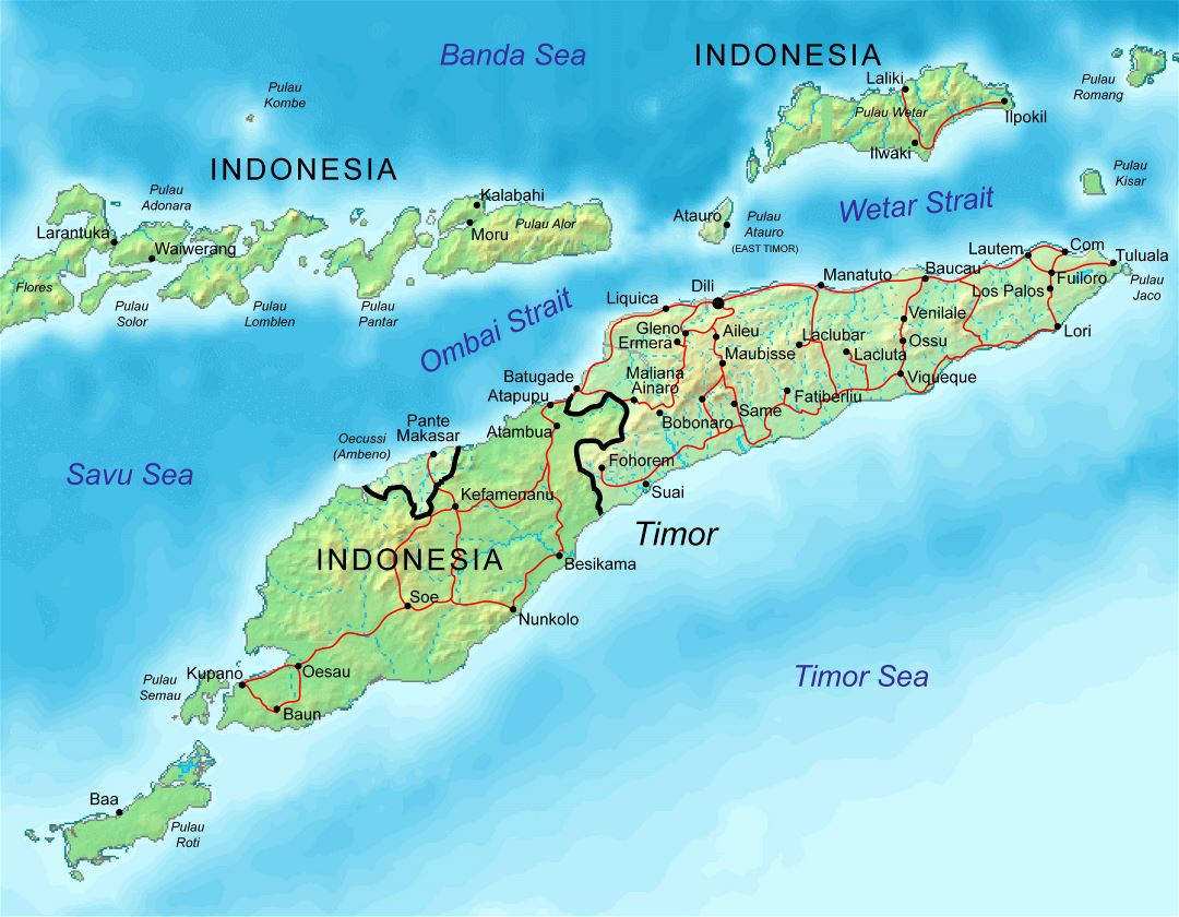 Large relief map of Indonesia and East Timor with roads