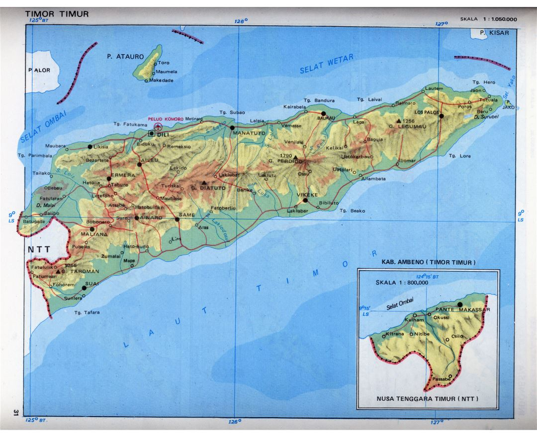 Maps of East Timor Detailed map of East Timor in English Tourist
