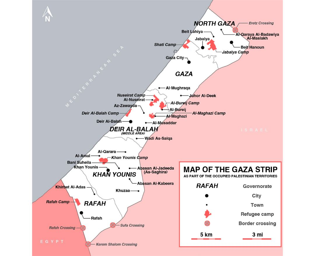 Detailed map of Gaza Strip with cities