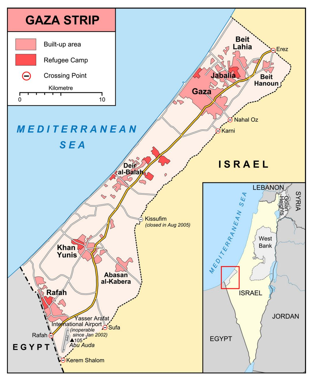 Detailed map of Gaza Strip with roads and cities