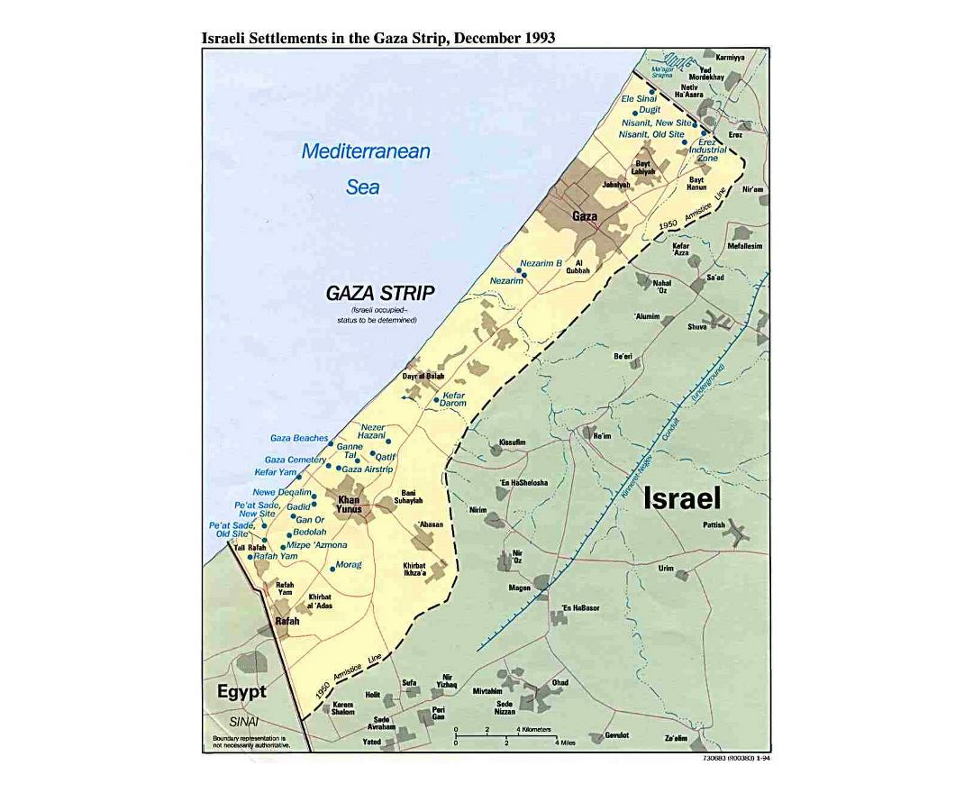 Detailed map of Israeli Settlements in the Gaza Strip - 1993