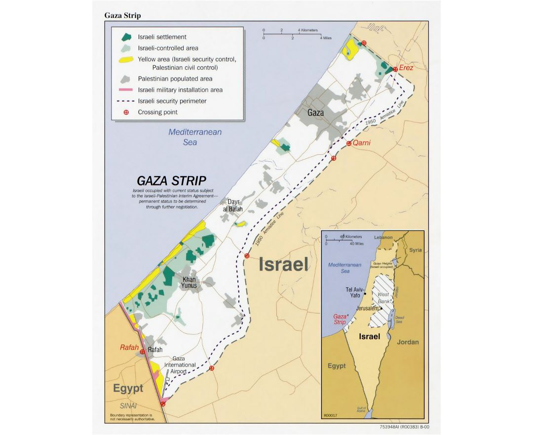 Detailed political map of Gaza Strip with other marks - 2000