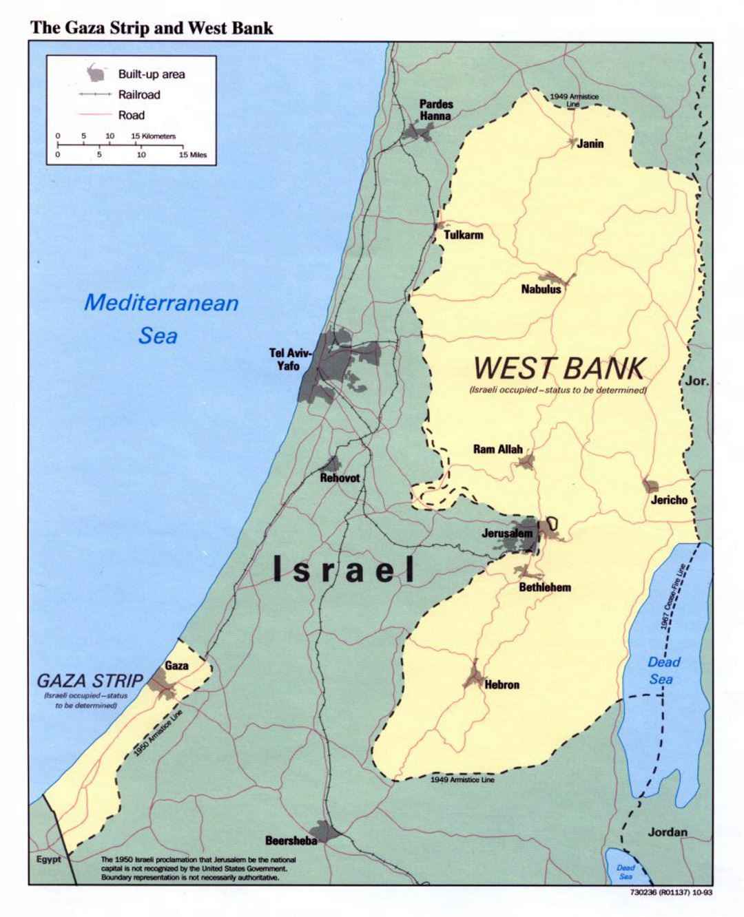Detailed political map of the Gaza Strip and West Bank - 1993