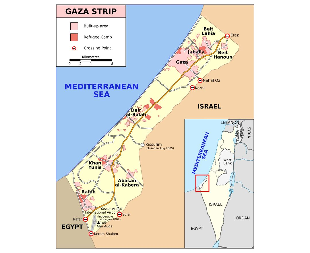 Large detailed map of Gaza Strip with roads and cities