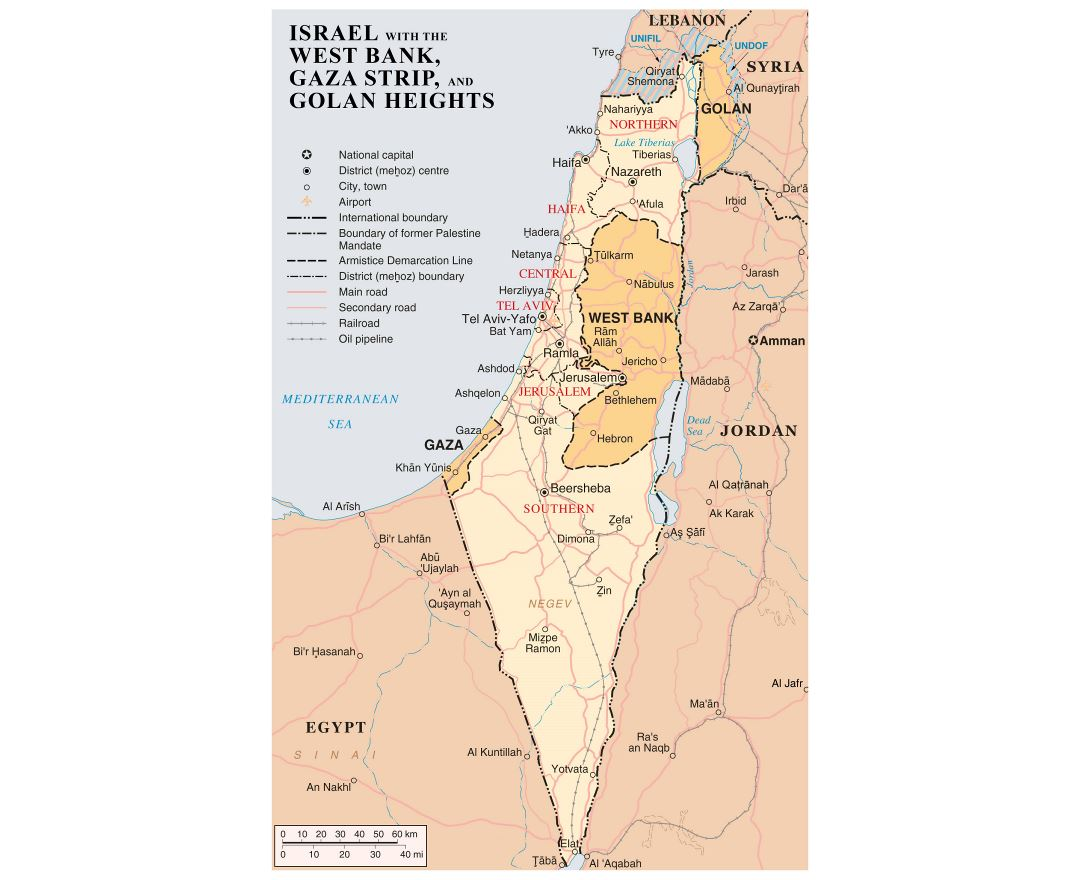 Large detailed map of Israel with the West Bank, Gaza Strip and Golgan Heights