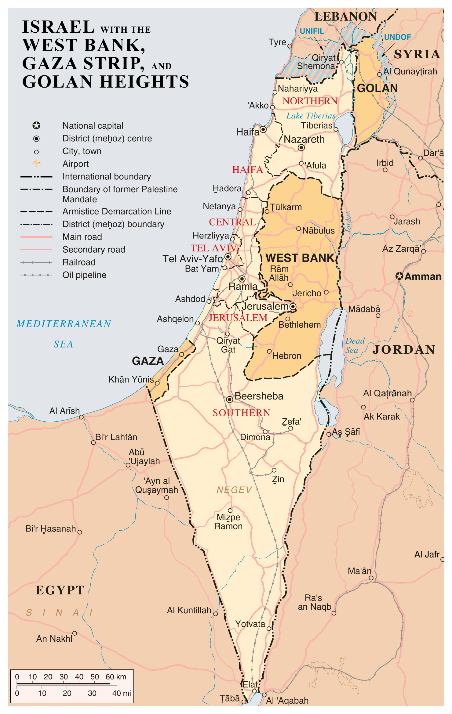 Large detailed map of Israel with the West Bank, Gaza Strip and ...