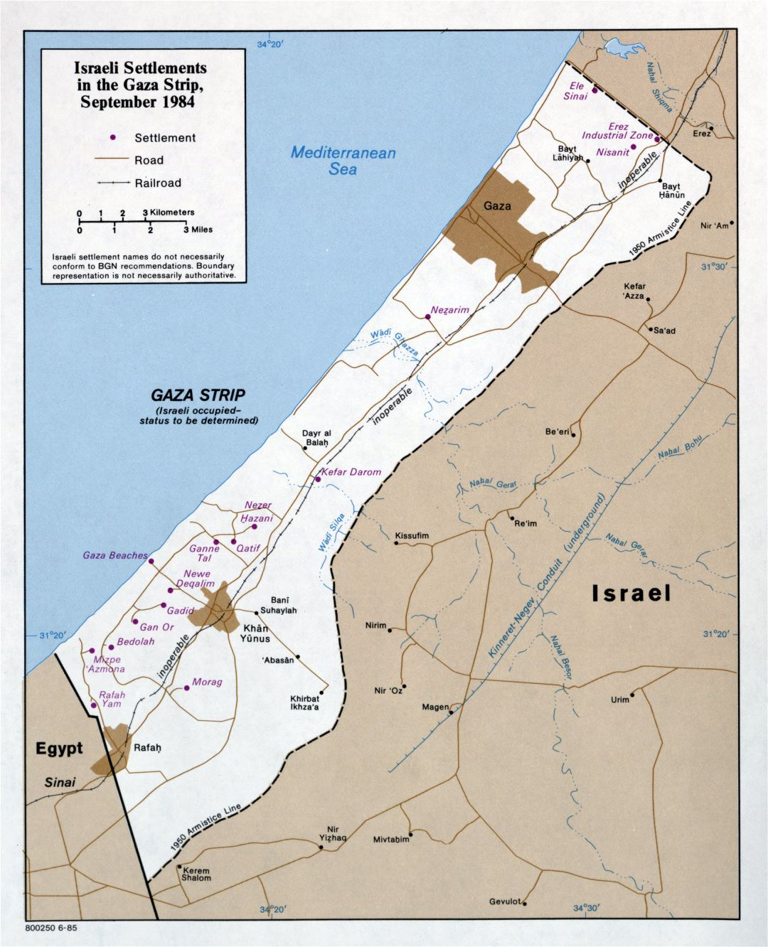 Large detailed map of Israeli Settlements in the Gaza Strip - 1985
