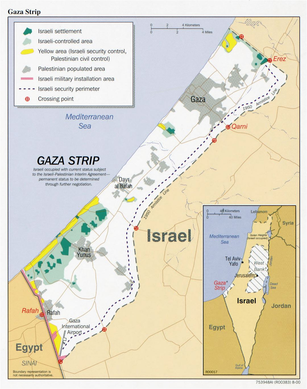 Large detailed political map of Gaza Strip with other marks - 2000