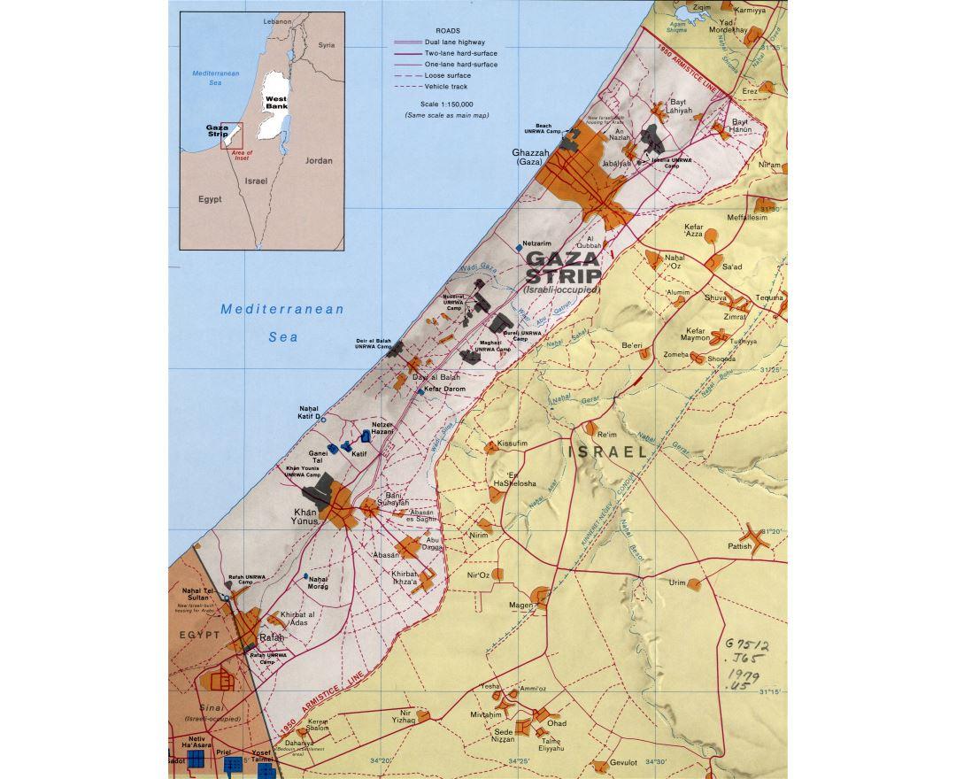Maps of Gaza Strip Detailed map of Gaza Strip in English Tourist