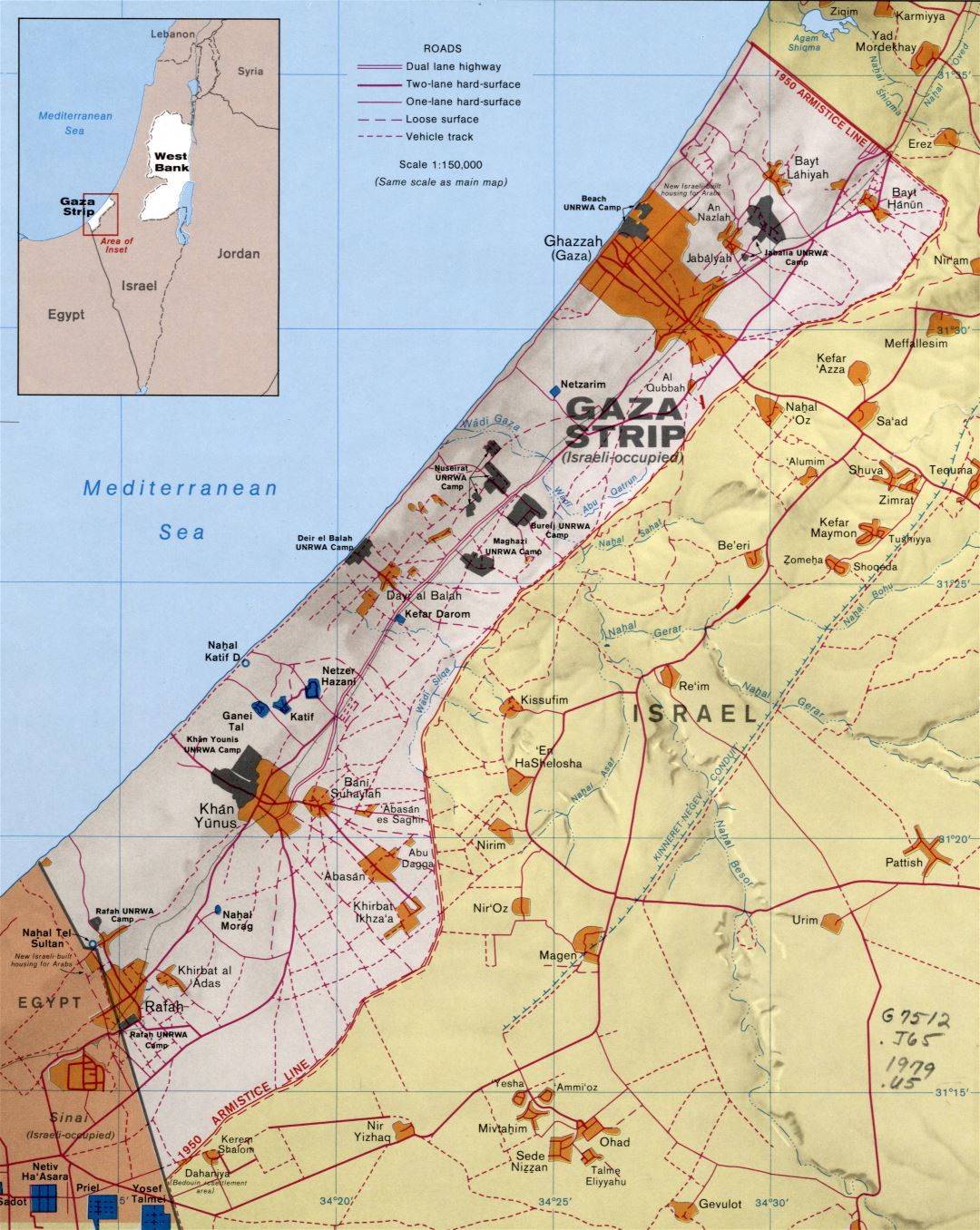 Large detailed political map of Gaza Strip with relief, roads, settlements and other marks