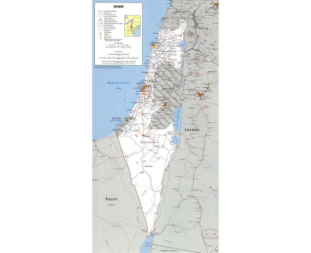 Large detailed political map of Israel with the West Bank, Gaza Strip and Golgan Heights