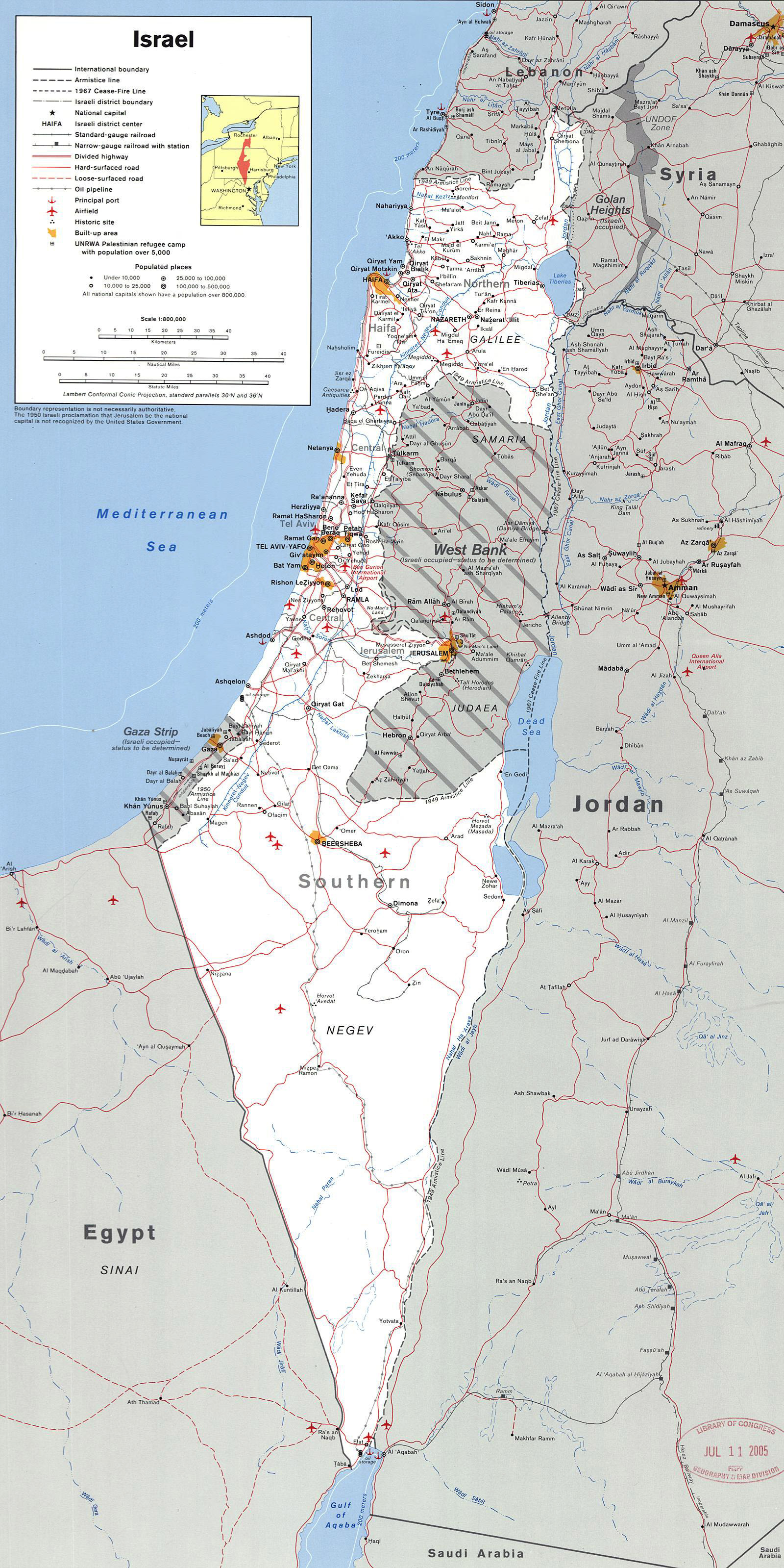 Map of israel with gaza strip #2