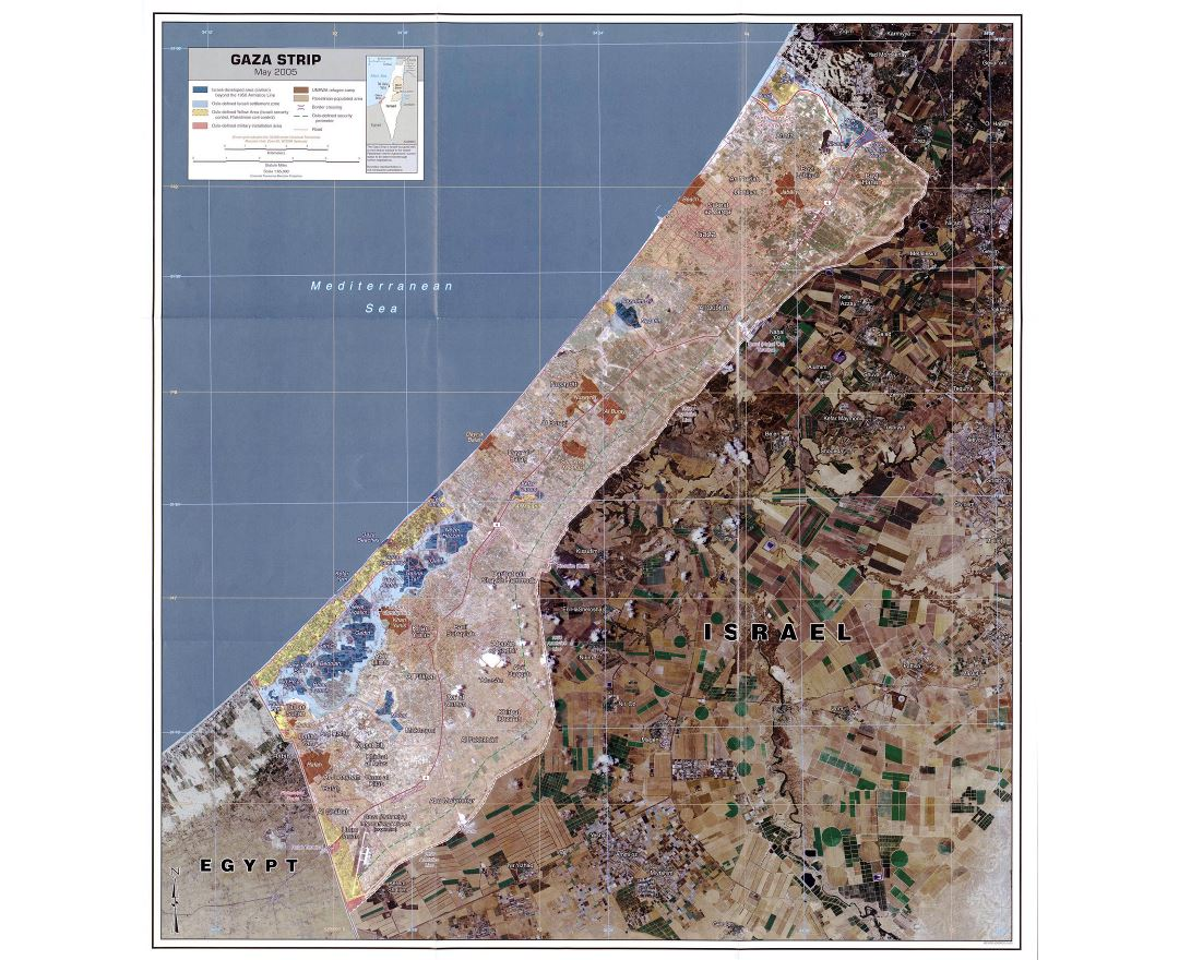 Large detailed satellite map of Gaza Strip with other marks - 2005