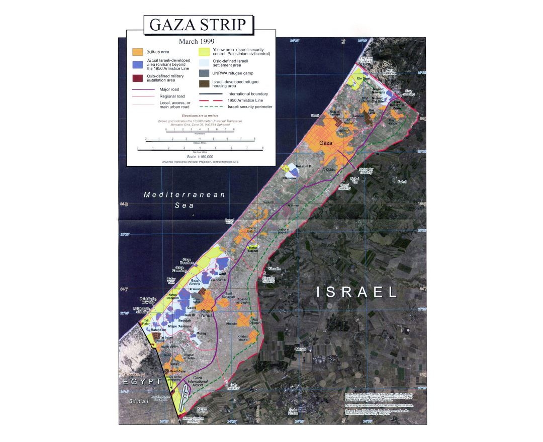 Large detailed satellite map of Gaza Strip with other marks