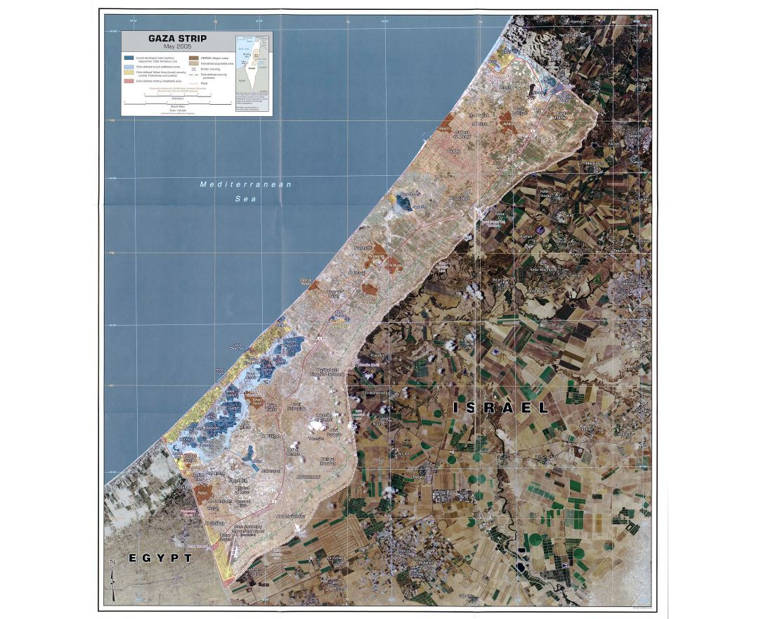 Large detailed satellite map of Gaza Strip with roads, cities and other marks - 2005