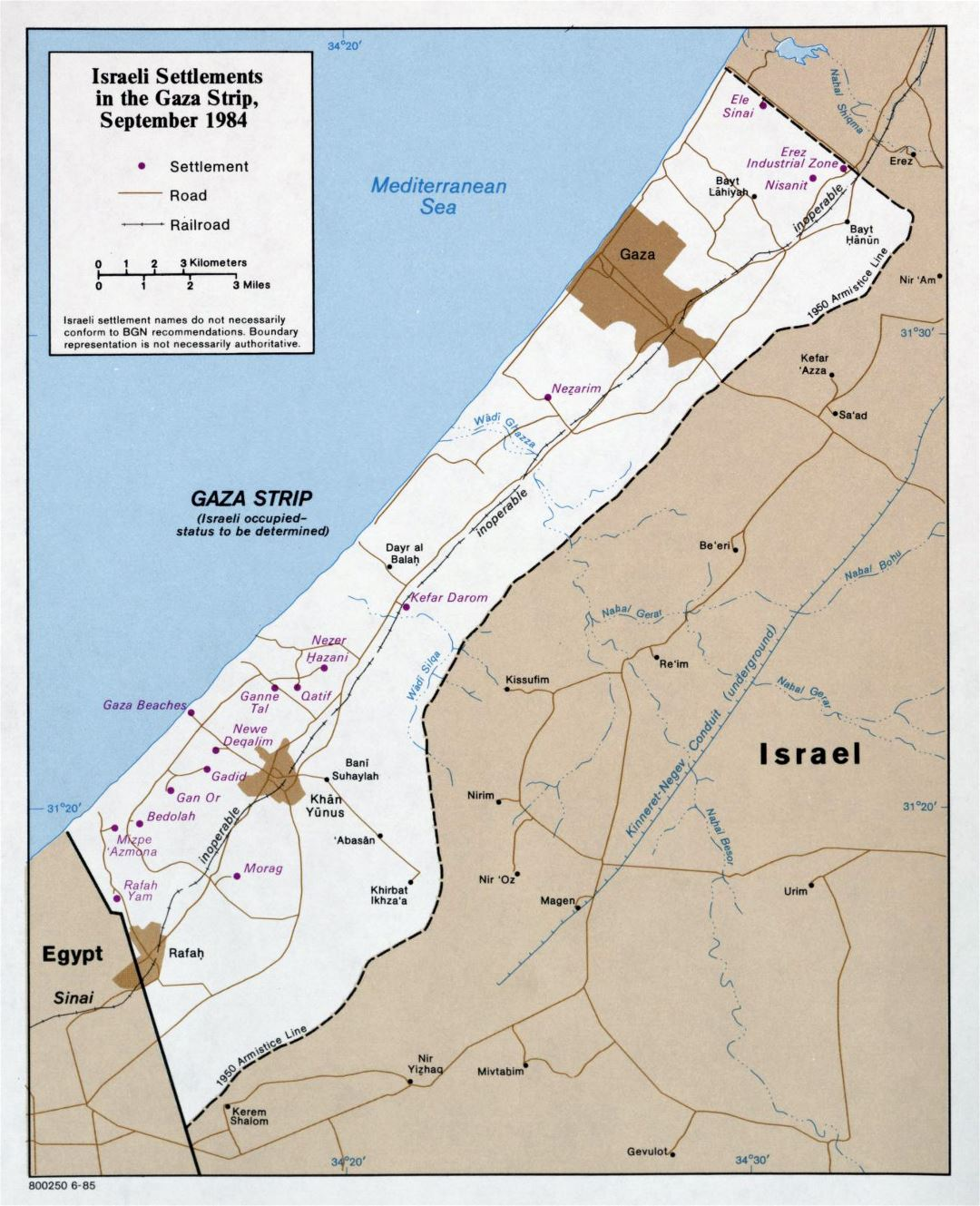 Large map of Israeli Settlements in the Gaza Strip - 1985
