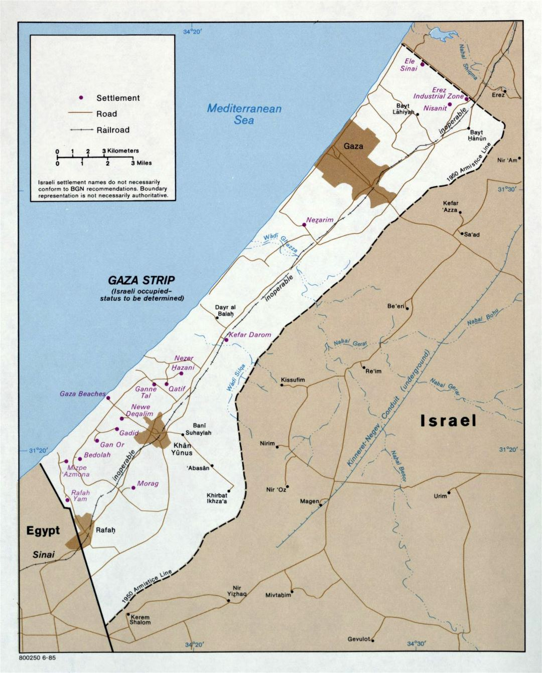 Large political map of Gaza Strip - 1985