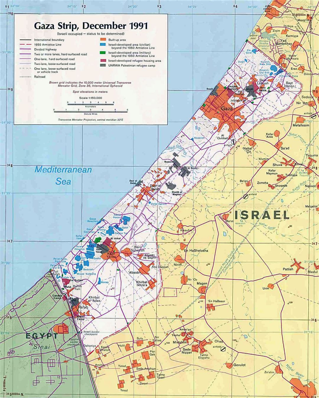 Large political map of Gaza Strip with roads, cities and other marks - 1991