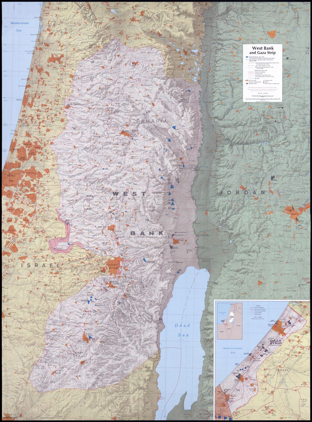 Large scale detailed map of West Bank and Gaza Strip with relief, roads, cities and other marks